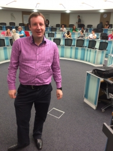 Sean at Bradford School of Management talking to MBA students